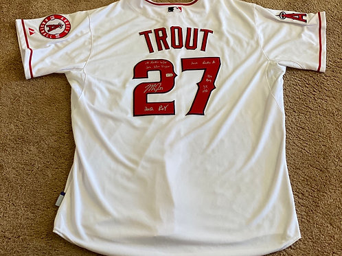 "Mike Trout Signed ""6 Inscription"" Jersey"