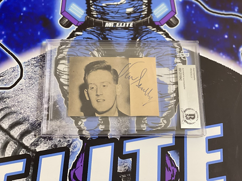 Vin Scully Signed & Slabbed Vintage Photo (Beckett Authenticated)