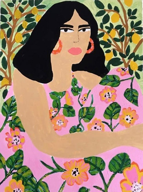 Woman in the Garden Canvas Painting