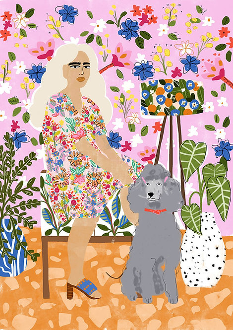 Lady And Her Poodle Print