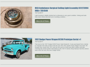 New Section on Website: Vehicles & Specialty Parts for Sale.