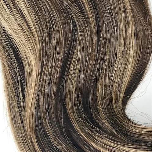 Clip-in #4/27- Medium Brown & Blonde Highlights