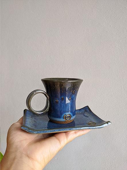Xícara Azul Cristal c/ apoio