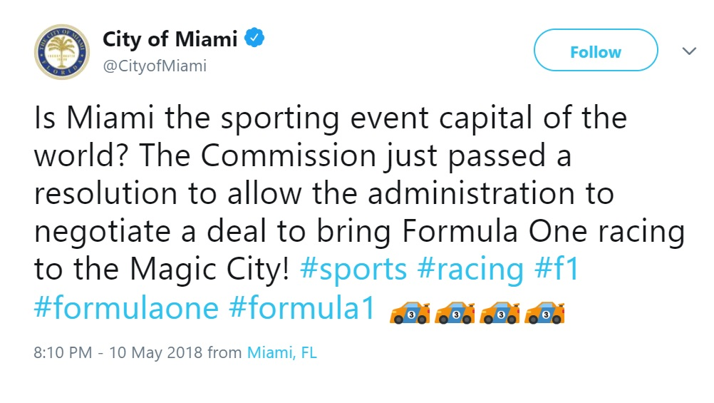 City of Miami approving the F1 venue for 2019