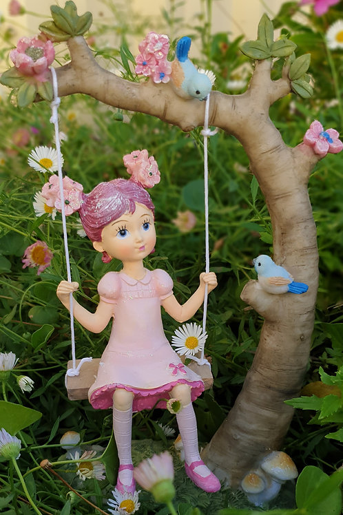 Flower girl on a swing