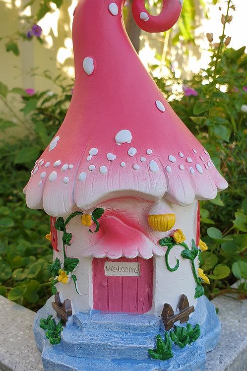 Fairy pink mushroom home