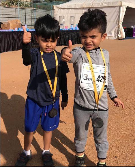 Abeer and Samarth Rabbit run finishers.J