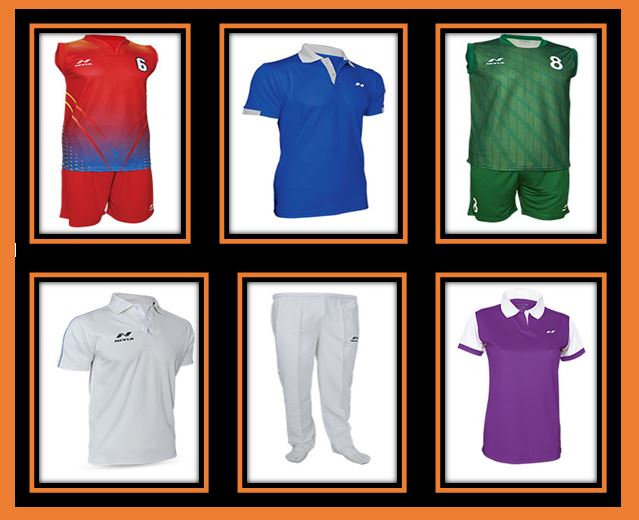 Basketball,Volleyball, Cricket whites, Polos