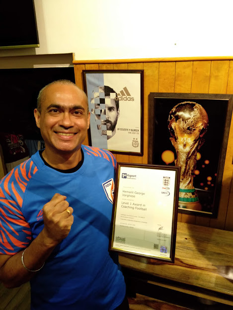 Hemant with FA coaching certificate
