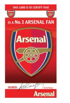 Danilo Arsenal fan certificate greeting card