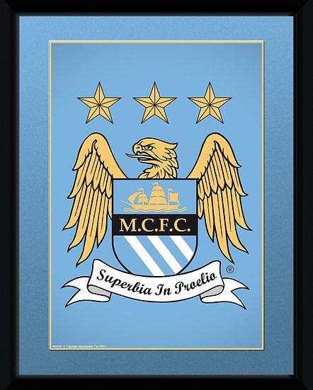 Manchester City Club 15 X20 cm crest frame PFA 399