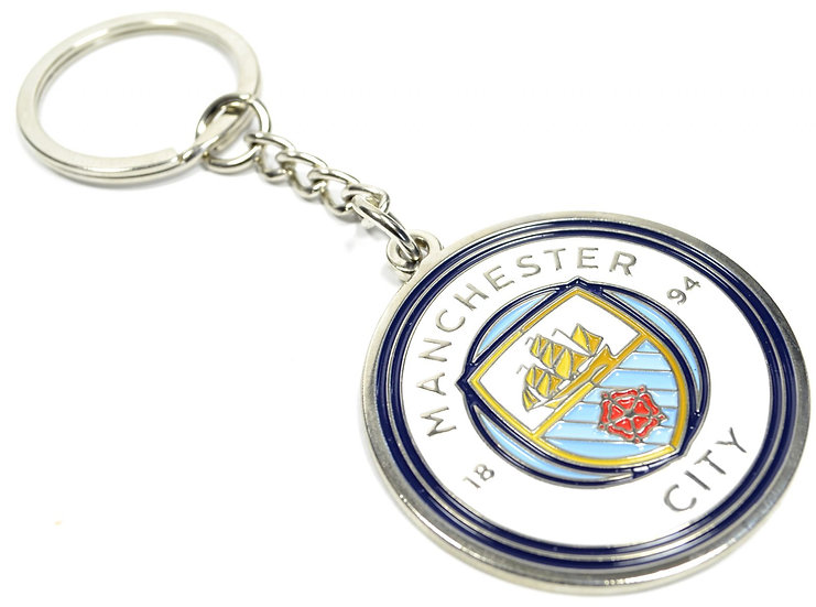 Manchester City metal crest keyring