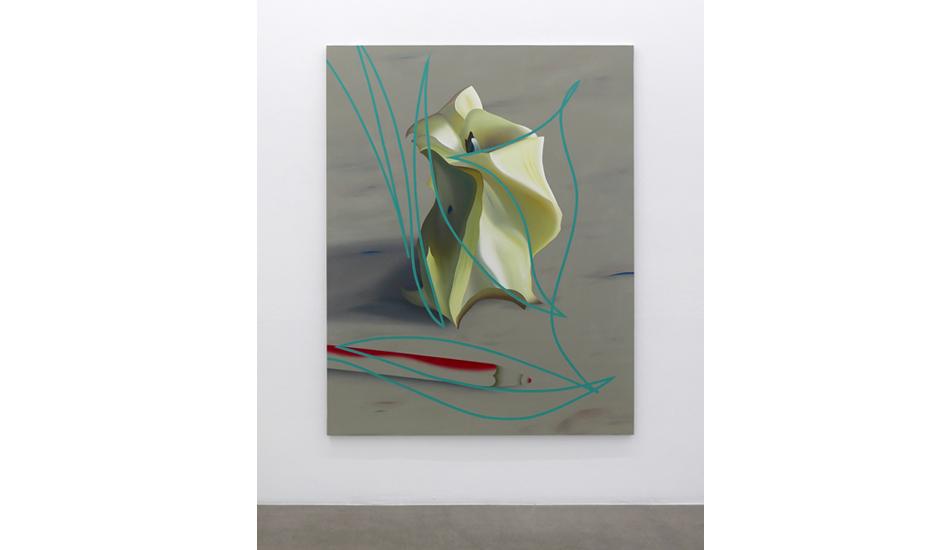 Stefano Perrone,  Il movimento di un torsolo di mela e di  una matita che non c'è più, 2019, oil and pigment on canvas, 190x150 cm