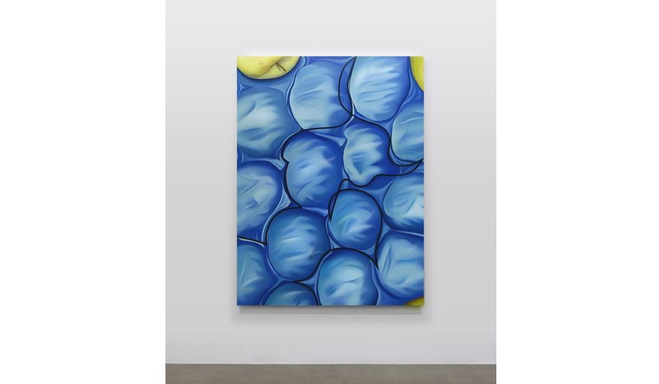 Stefano Perrone, 3 mele non protagoniste, 2020, olio e pigmento su tela, 160x120 cm