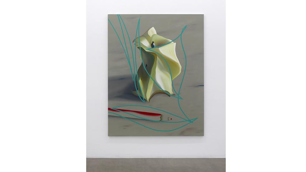 Stefano Perrone, Il movimento di un torsolo di mela e di  una matita che non c'è più, 2019,  olio e pigmento su tela, 190x150 cm