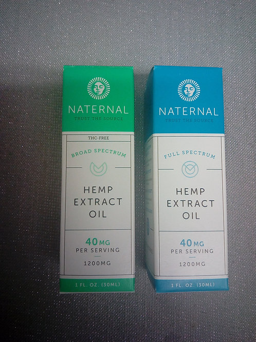Naternal Full Spectrum and Broad Spectrum Hemp Extract Oil 1200mg
