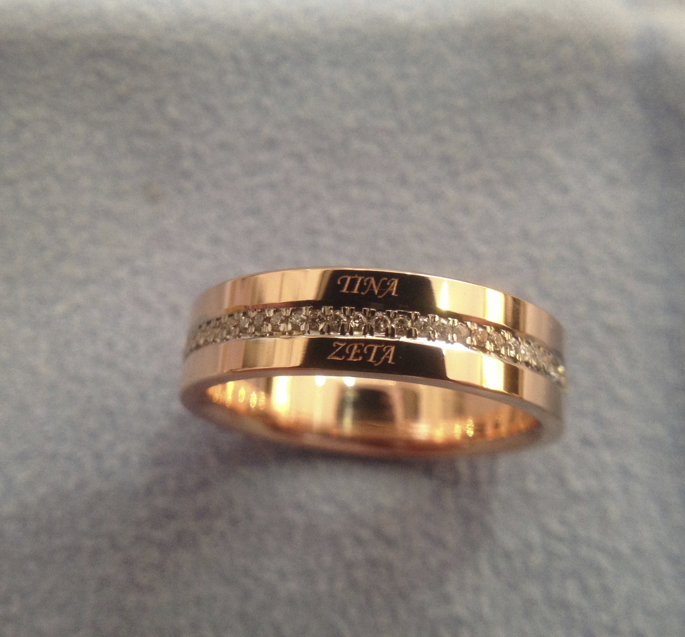 Custom ring with diamonds and names