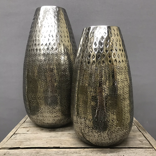 Inca Hammered Aluminum Bullet Decor Vase - Silver
