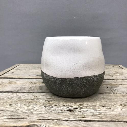 Corsica Ceramic Crackle 2 Tone Pot - White