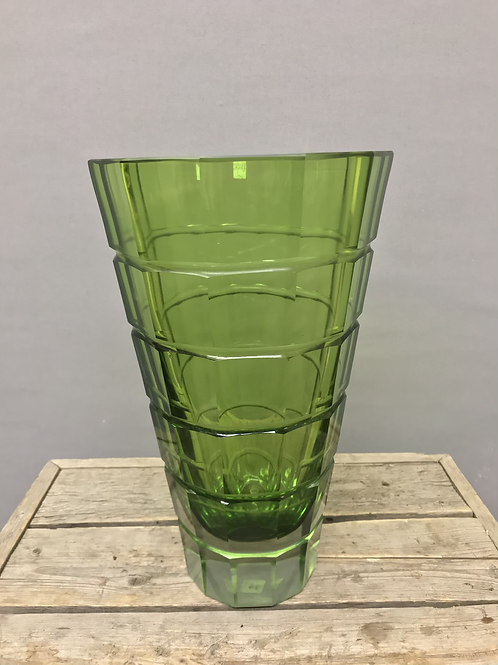 Clear green glass vase