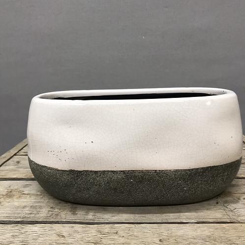 Corsica Ceramic Crackle 2 Tone Oval Pot - White