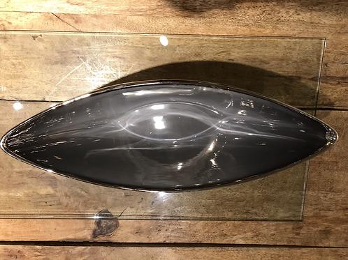 """Talia Silver Trim 18"""" Ceramic Boat Bowl - Silver & White"""