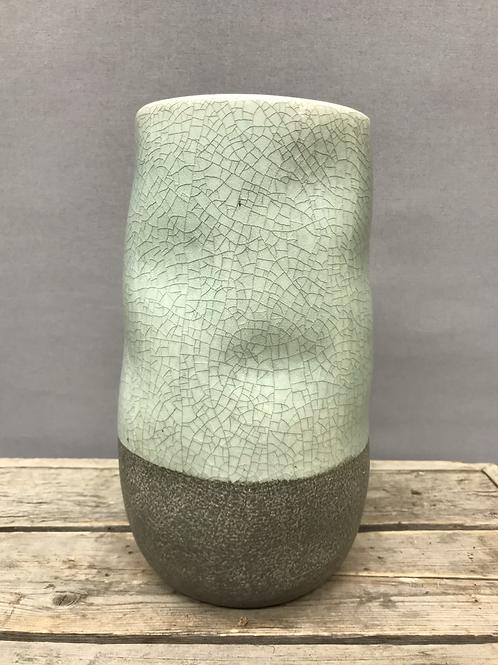 Corsica Ceramic Crackle 2 tone vase - Celadon Blue