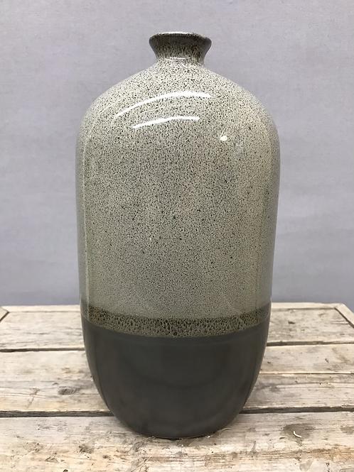 Medium Ceramic 2 Tone Oval Bottle Vase - Grey