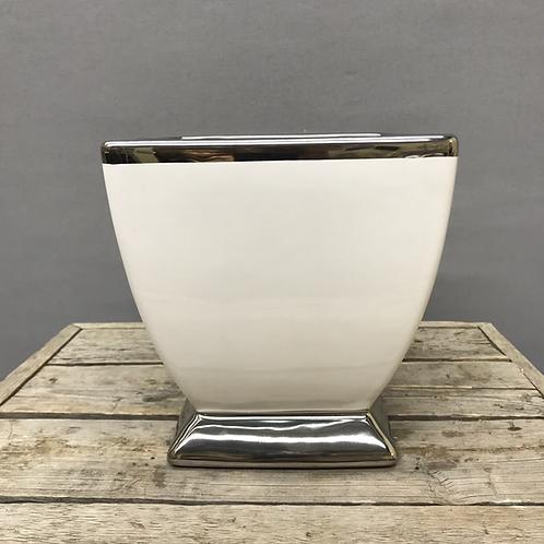 Talia Silver Trim  Ceramic Pedestal Vase - Silver & White