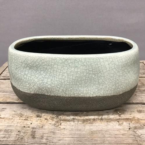 Corsica Ceramic Crackle 2 Tone Short Oval Pot - Celadon Blue