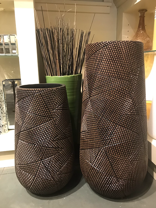 Diamond Hatch Carved Resin Floor Vase