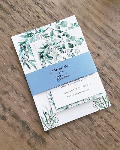 Floral Sage Rusty Blue Wedding Invitation