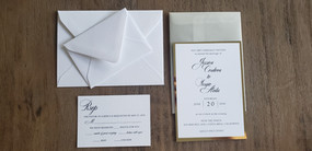 Classic Elegane White and Gold Mirror Wedding Invitation