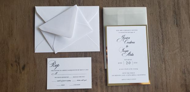 Classic Elegane White and Gold Mirror Wedding Invitation