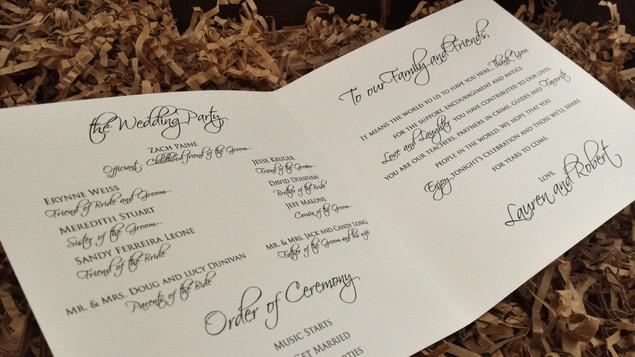 Inside Wedding Program
