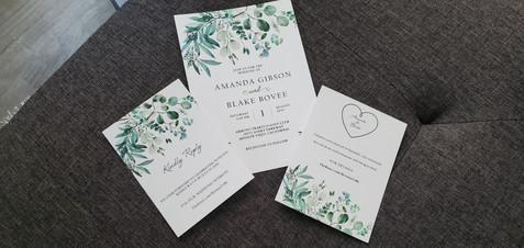 Boho Floral Sage Wedding Invitation Suite