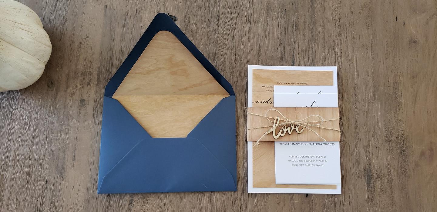 Wood Rustic Wedding Invitation