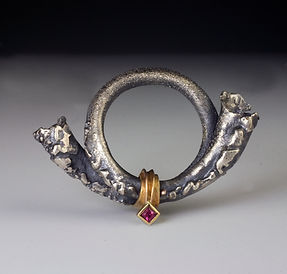 Hunter's Horn sterling, gold, ruby brooch