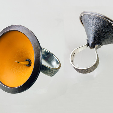 Inverted Amber Parasol Ring