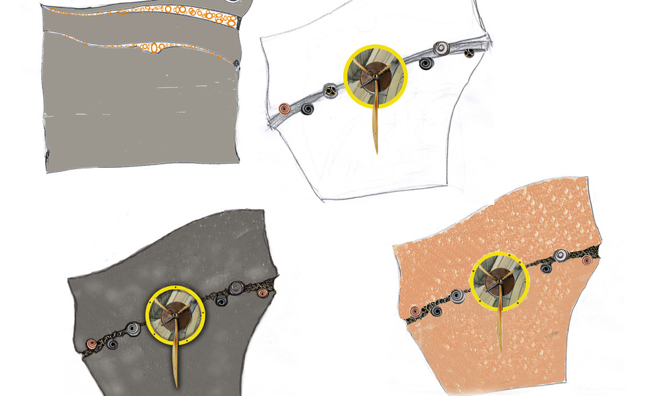 More substantial designs with the brooch at center.