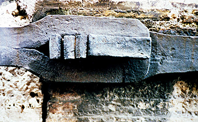 Forged iron bracing from the Coliseum in Rome.