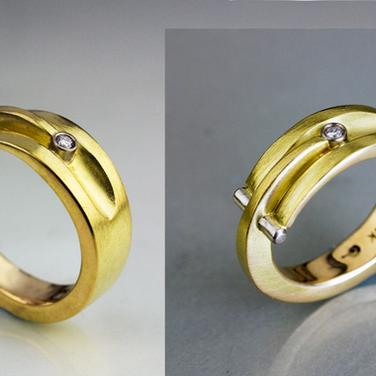 18k Grooved Overlap Ring