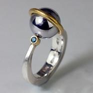 Blue Diamond Orbit Ring