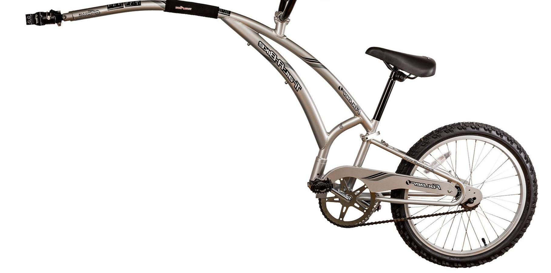 The skeletal element at the center is a child's Trail-A-Bike frame, stripped of paint, rusted and reconfigured.