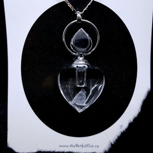 Heart essence crystal necklace with chickadee