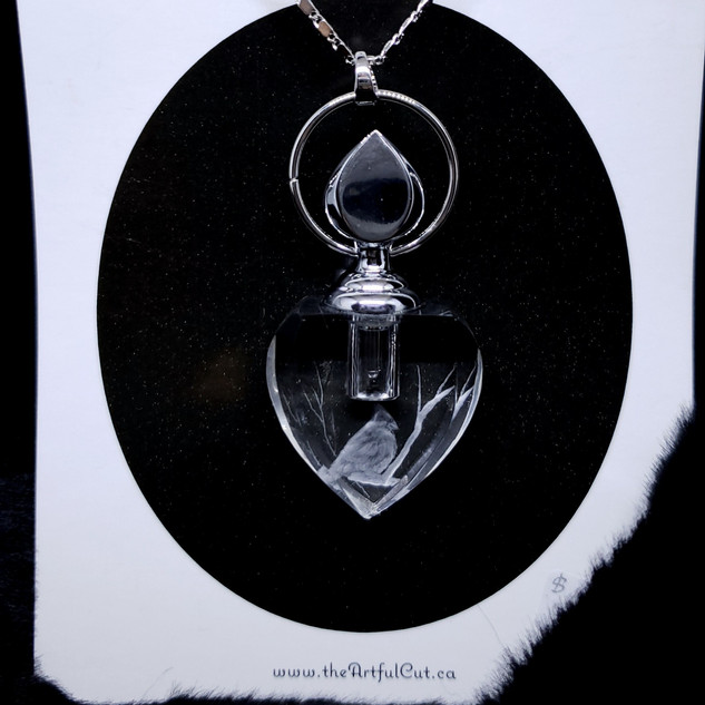 crystal heart necklace with chickadee