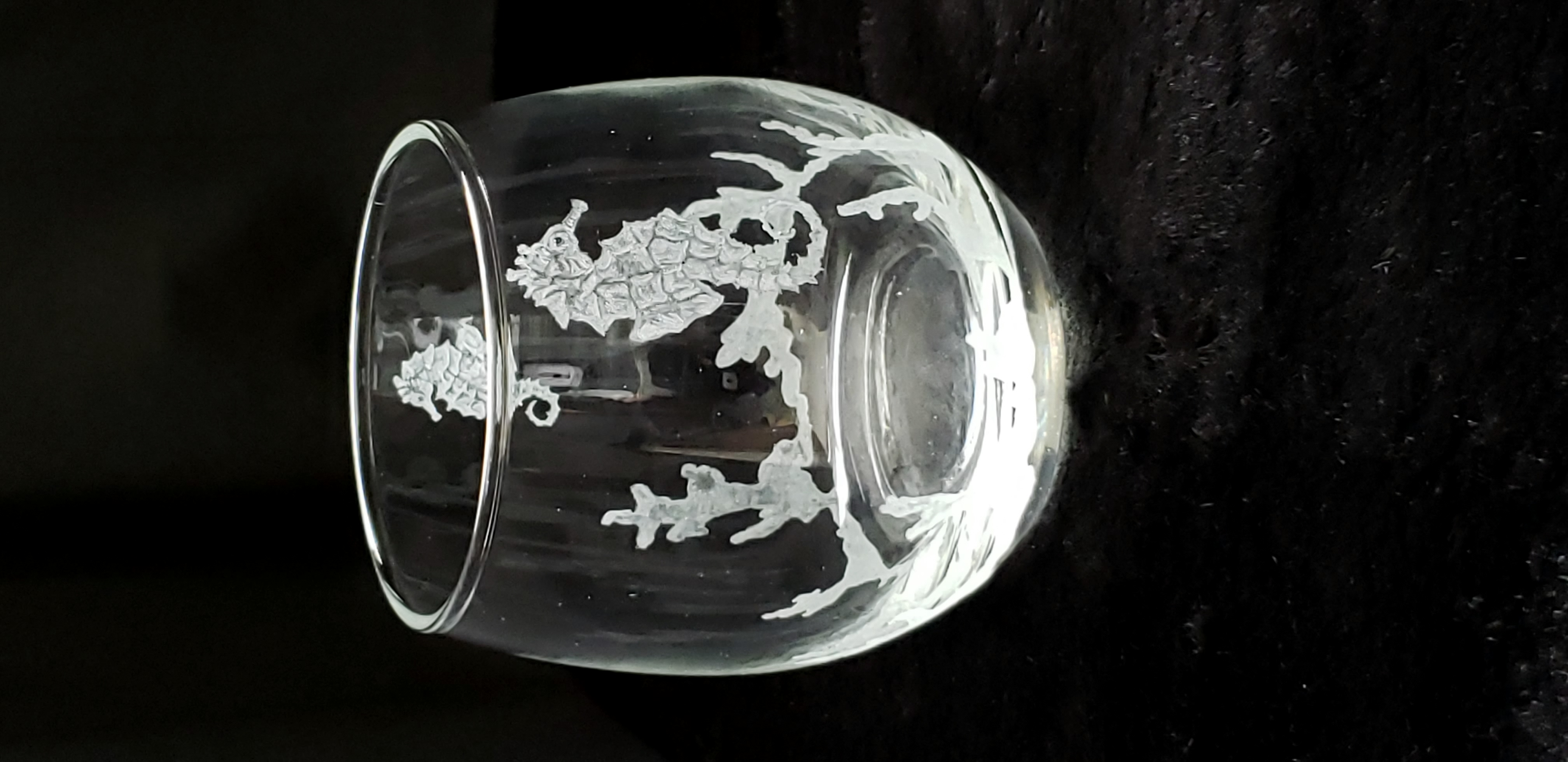 stemless seahorse wine/drink glass