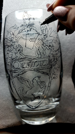 coat of arms sketch on glass