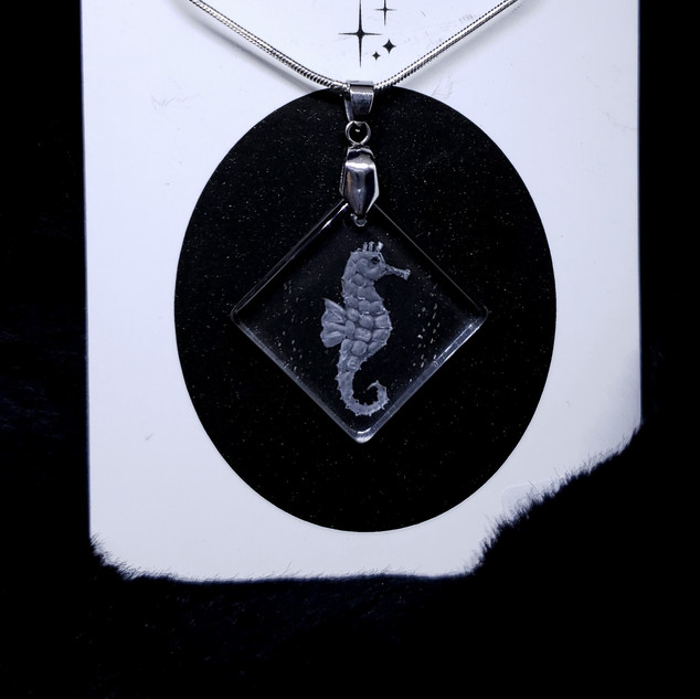 glass engraved necklace of a seahorse