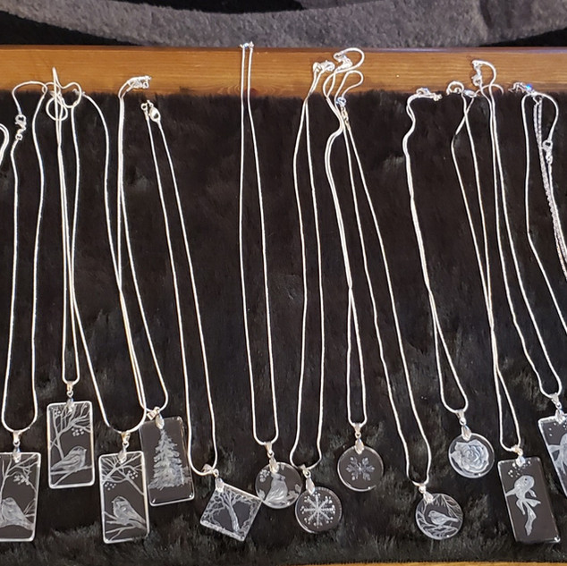 glass engraved necklaces